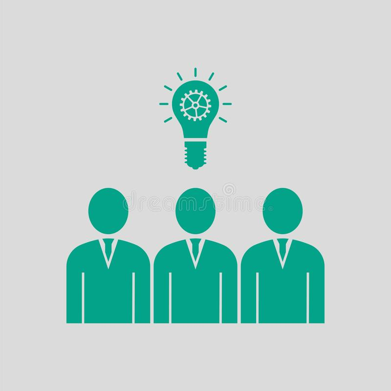 Corporate Team Finding New Idea Icon. Green on Gray Background. Vector Illustration royalty free illustration