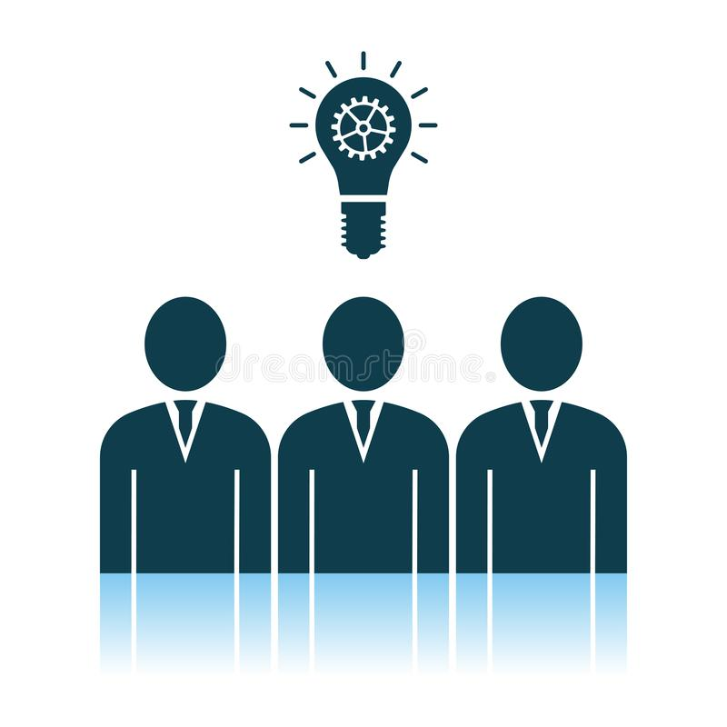 Corporate Team Finding New Idea Icon. Shadow Reflection Design. Vector Illustration royalty free illustration