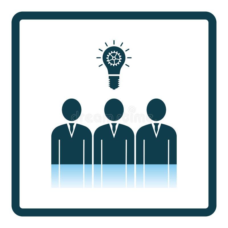 Corporate Team Finding New Idea Icon. Square Shadow Reflection Design. Vector Illustration stock illustration