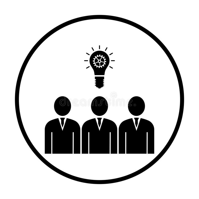 Corporate Team Finding New Idea Icon. Thin Circle Stencil Design. Vector Illustration vector illustration