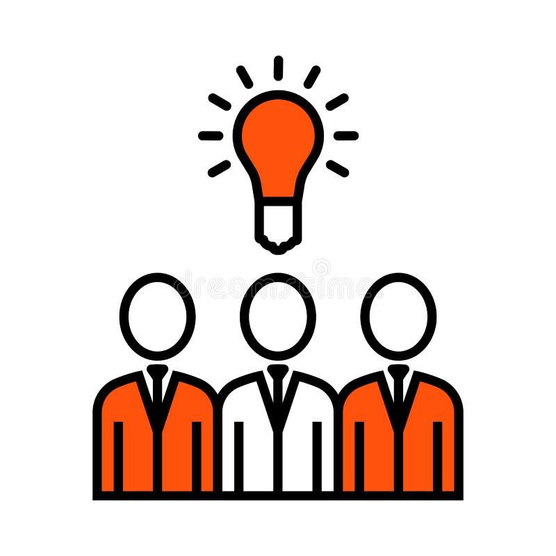 Corporate Team Finding New Idea Icon. Thin Line With Orange Fill Design. Vector Illustration vector illustration