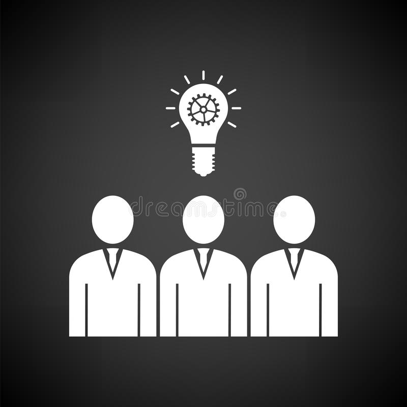 Corporate Team Finding New Idea Icon. White on Black Background. Vector Illustration royalty free illustration
