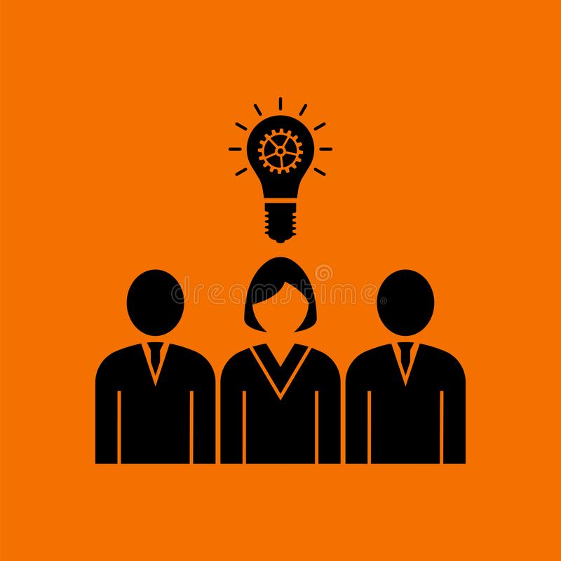 Corporate Team Finding New Idea With Woman Leader Icon. Black on Orange Background. Vector Illustration stock illustration