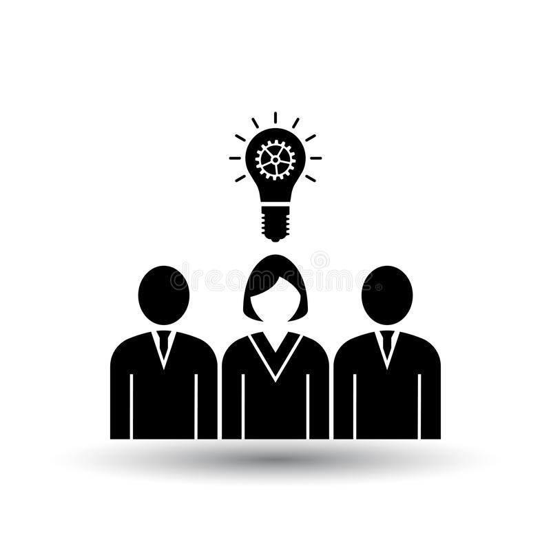 Corporate Team Finding New Idea With Woman Leader Icon. Black on White Background With Shadow. Vector Illustration stock illustration