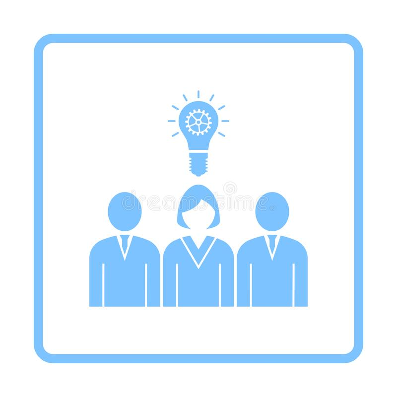 Corporate Team Finding New Idea With Woman Leader Icon. Blue Frame Design. Vector Illustration vector illustration