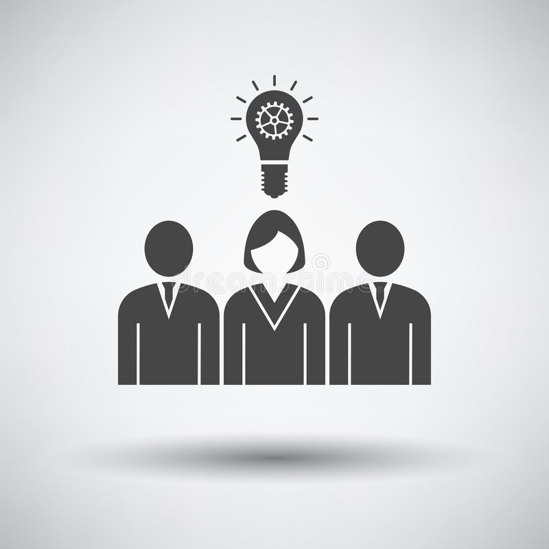 Corporate Team Finding New Idea With Woman Leader Icon. On gray background, round shadow. Vector illustration stock illustration