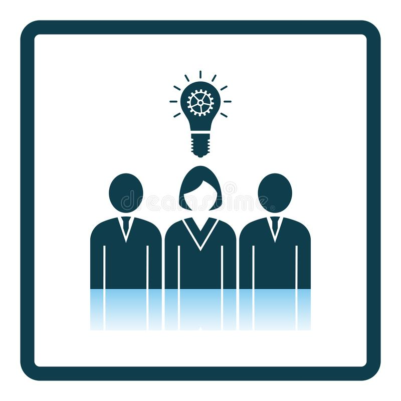 Corporate Team Finding New Idea With Woman Leader Icon. Square Shadow Reflection Design. Vector Illustration royalty free illustration