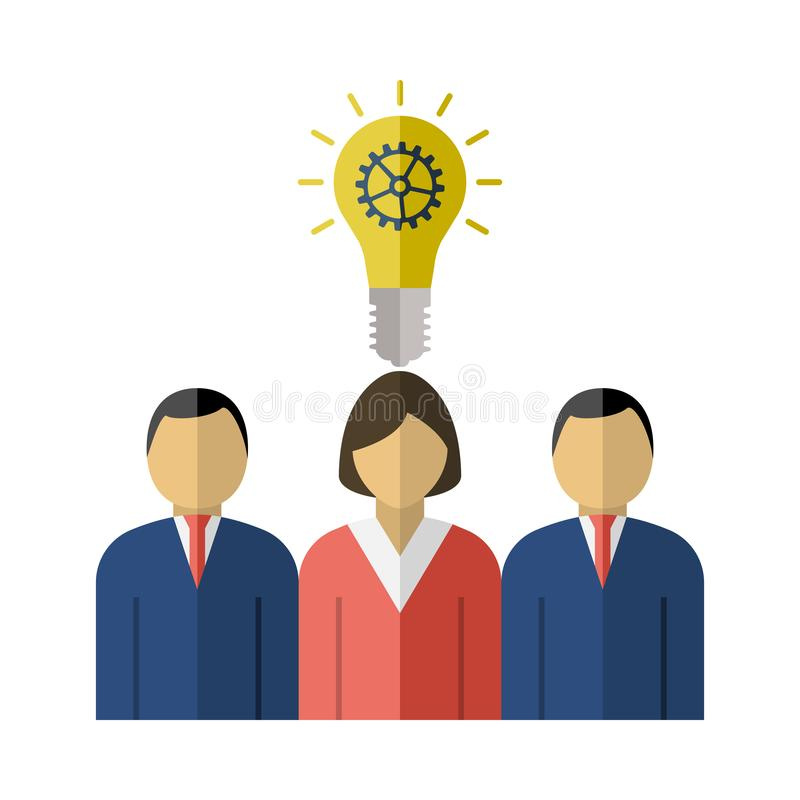 Corporate Team Finding New Idea With Woman Leader Icon. Flat Color Design. Vector Illustration vector illustration