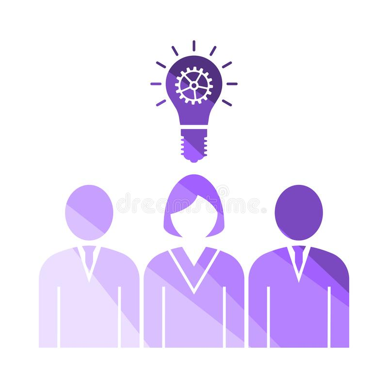 Corporate Team Finding New Idea With Woman Leader Icon. Flat Color Ladder Design. Vector Illustration royalty free illustration
