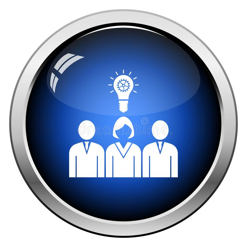 Corporate Team Finding New Idea With Woman Leader Icon. Glossy Button Design. Vector Illustration royalty free illustration