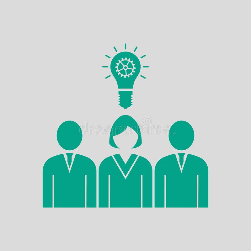 Corporate Team Finding New Idea With Woman Leader Icon. Green on Gray Background. Vector Illustration vector illustration