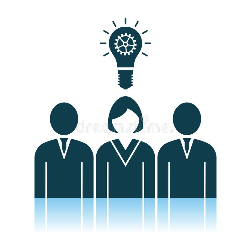 Corporate Team Finding New Idea With Woman Leader Icon. Shadow Reflection Design. Vector Illustration vector illustration