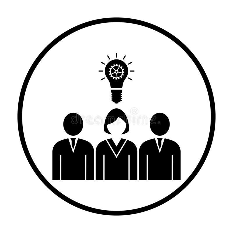 Corporate Team Finding New Idea With Woman Leader Icon. Thin Circle Stencil Design. Vector Illustration vector illustration