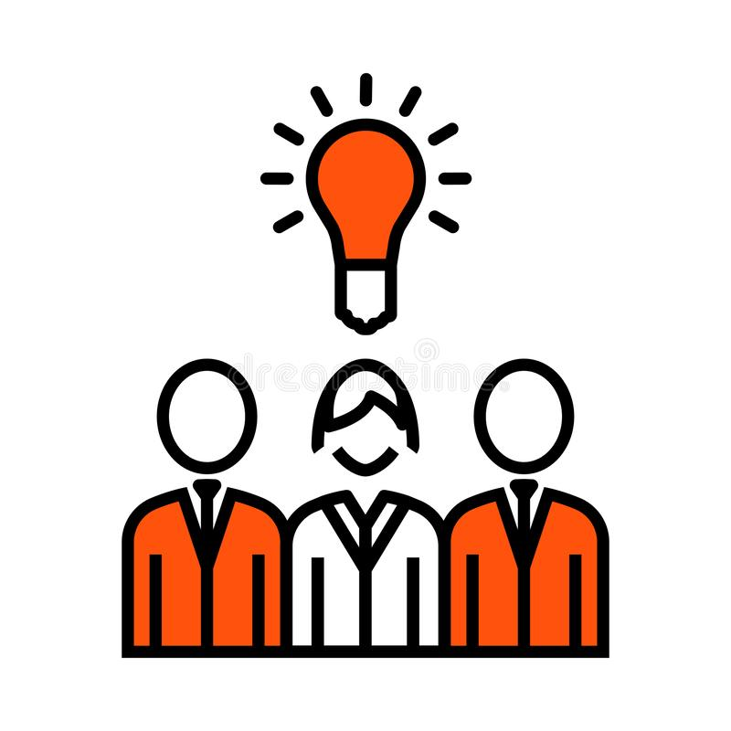 Corporate Team Finding New Idea With Woman Leader Icon. Thin Line With Orange Fill Design. Vector Illustration royalty free illustration