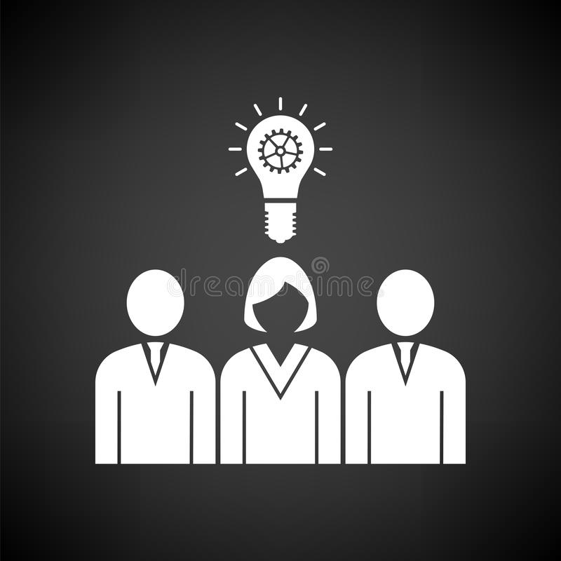 Corporate Team Finding New Idea With Woman Leader Icon. White on Black Background. Vector Illustration vector illustration
