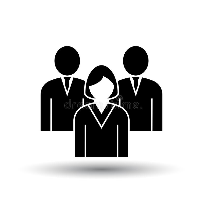 Corporate Team Icon. Black on White Background With Shadow. Vector Illustration stock illustration