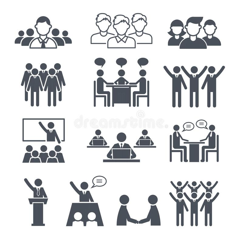 Corporate team icons. Professional people business networking conference crowd or group training vector symbols stock illustration