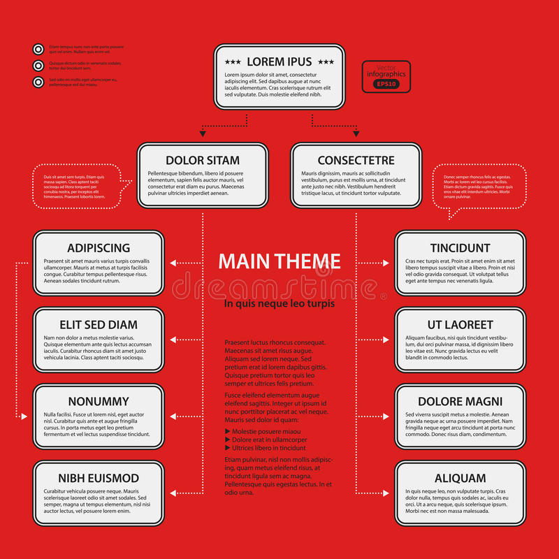 Corporate template on red background. Corporate design template on red background. Black and white colors. Useful for advertising, presentations and web design royalty free illustration