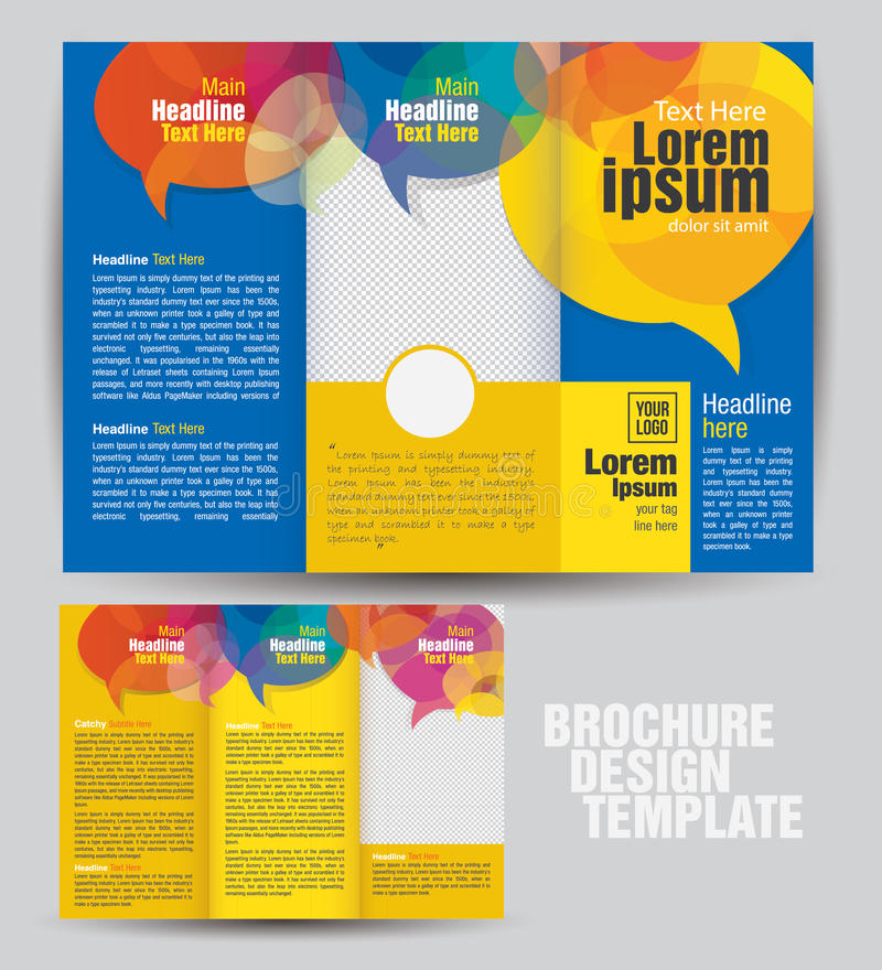 Corporate Tri Fold Business Brochure Design Template stock illustration