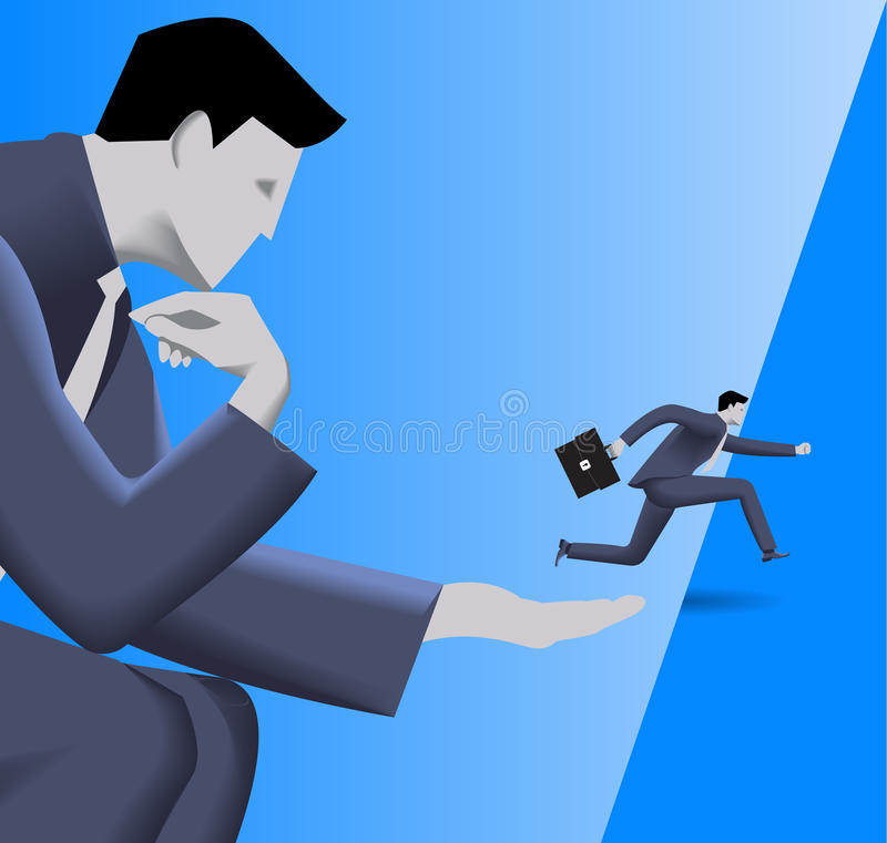 Corporate vs small business cooperation concept. Huge businessman helps small businessman to jump over abyss. Concept of help, protection, cooperation vector illustration