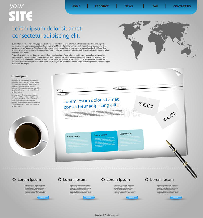 Corporate web design template. Corporate web design art template stock illustration