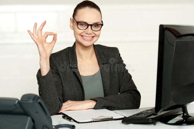 Corporate Woman Showing Excellent Gesture Royalty Free Stock Images