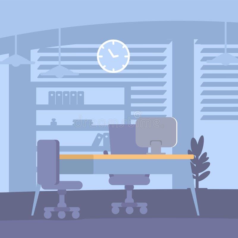 Corporate workplace decor flat color design. Vector illustration vector illustration