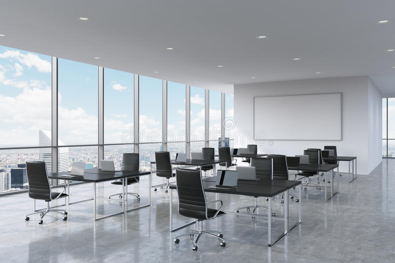 Corporate workplaces equipped by modern laptops in a modern panoramic office in New York City. royalty free illustration
