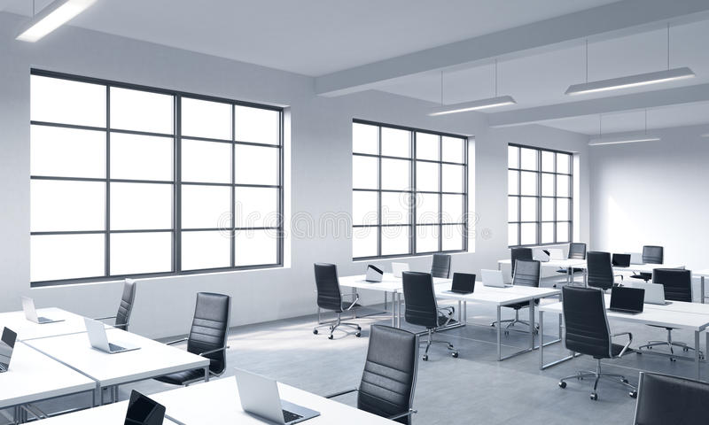 Corporate workplaces equipped by modern laptops in a modern panoramic office with white windows. Black leather chairs and white ta stock illustration
