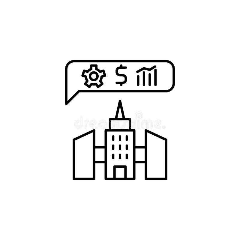 Corporation, ícone de negócios Ícone Elemento da empresa Ícone de linha fina ilustração royalty free