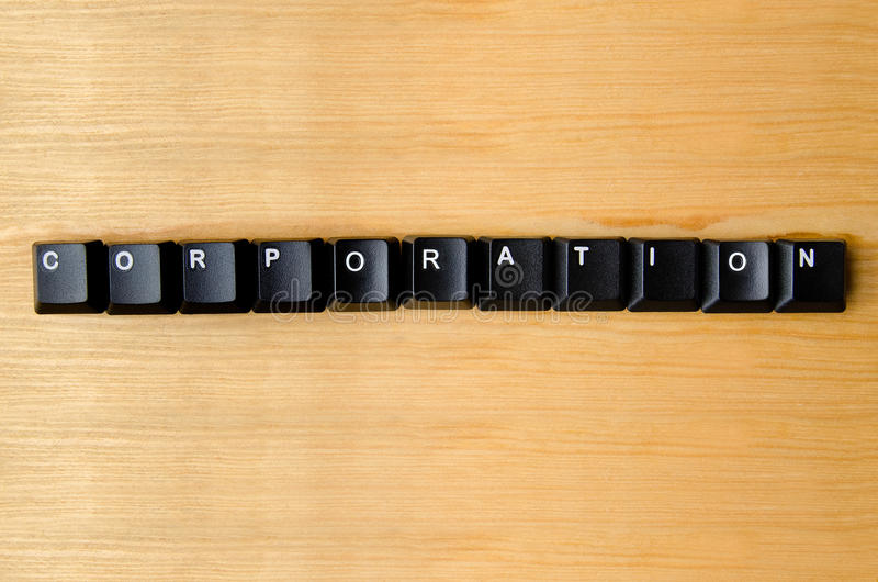 Corporation word. With keyboard buttons royalty free stock images