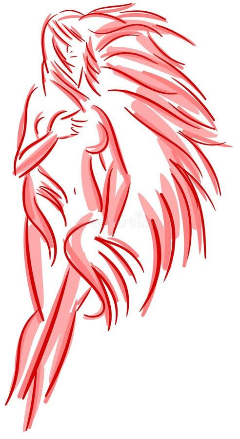Corps coloré stylisé de femme d'isolement illustration de vecteur