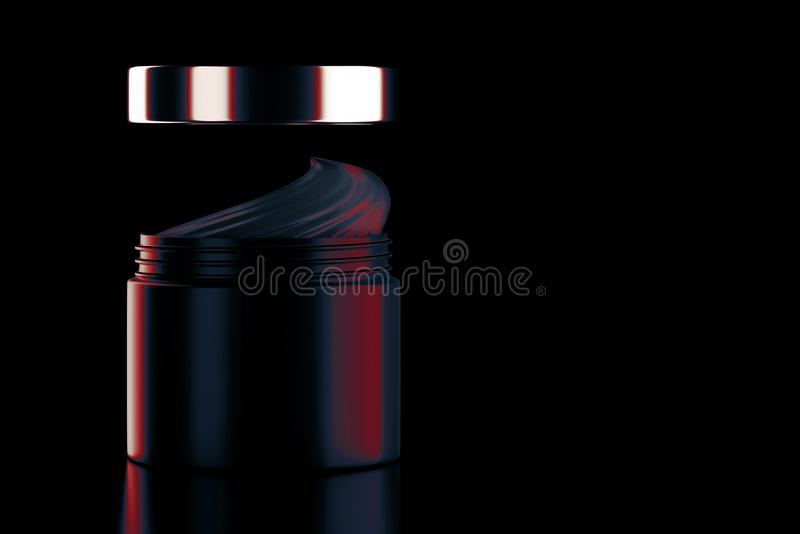 Corps crème noir ouvert de soin de beauté image libre de droits