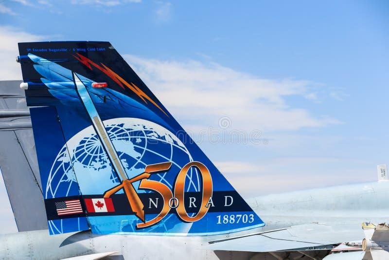 Corps d'aviation canadien royal (la Force Aérienne Royale Canadienne) CF-18, peinture de queue de NORAD. photos stock