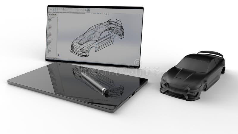 Corps dans le blanc - concept de construction de voiture illustration libre de droits