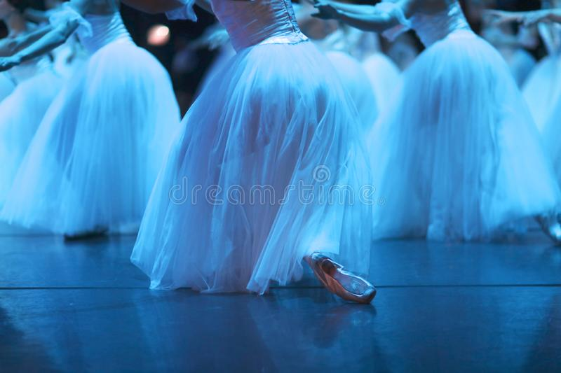The corps de ballet on the stage of the theater stock photo