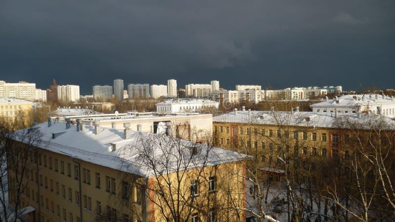 Corps de cadet de paysage d'hiver de ville à Moscou photographie stock libre de droits