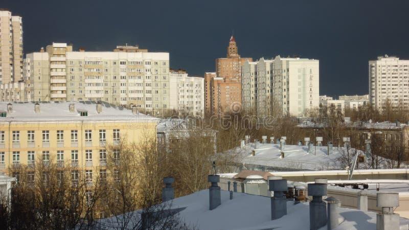 Corps de cadet de paysage d'hiver de ville à Moscou photos libres de droits