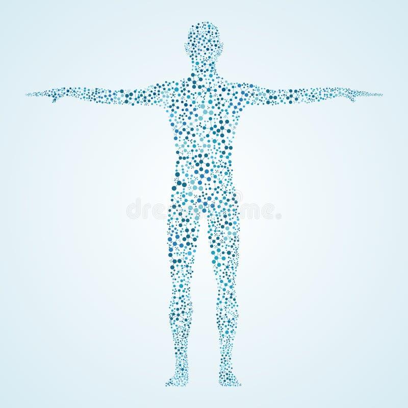 Corps humain avec de l'ADN de molécules Médecine, concept de la science et technologie Illustration illustration stock
