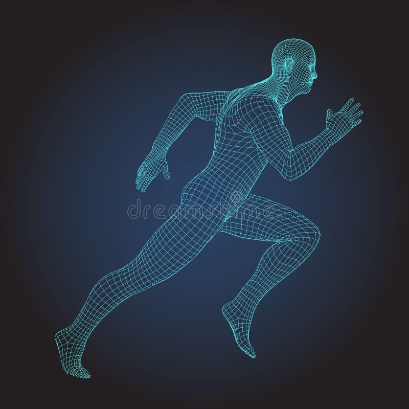 corps humain de cadre du fil 3D Chiffre courant de sprinter illustration stock