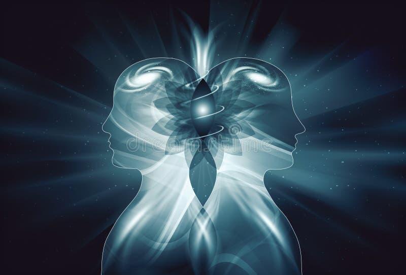 Corps légers masculins et femelles humains, conscience d'unité d'éclaircissement d'inspiration d'univers, Yin Yang, flammes jumel illustration stock