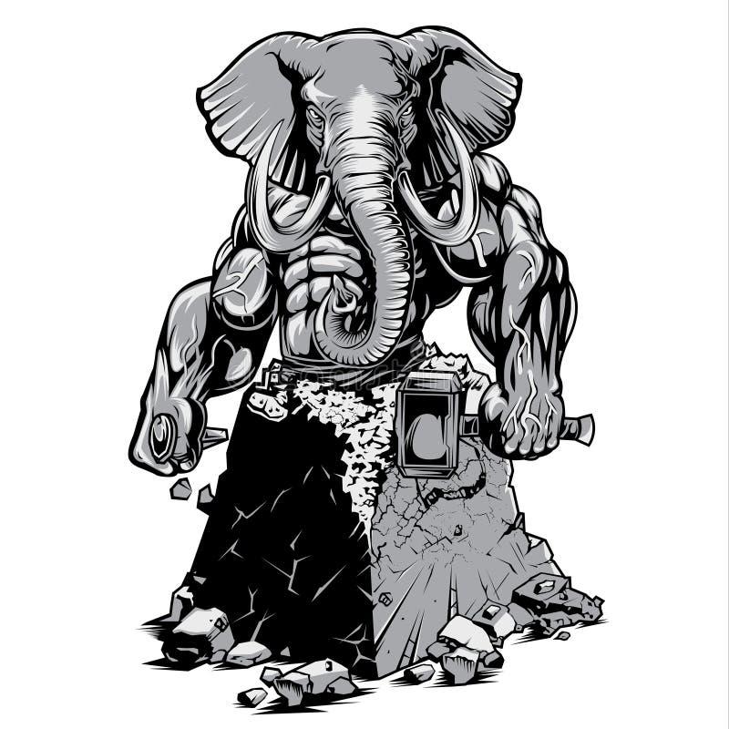 Corps musculaire Éléphant Fort Gym Vecteur Muscle Éléphant Fort Gym Changer Corps Vecteur illustration libre de droits