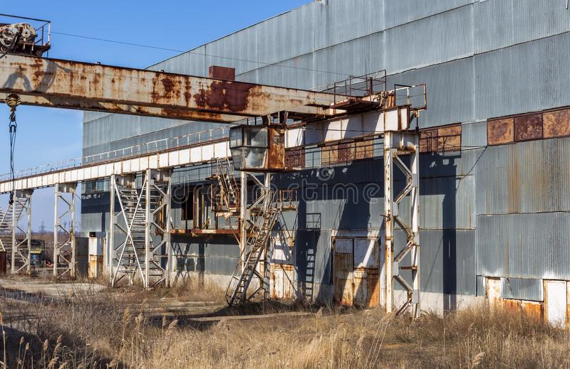 Corps of an old abandoned industrial plant. Abandoned construction of a nuclear power plant in Odessa, Teplodar. Industrial royalty free stock photography