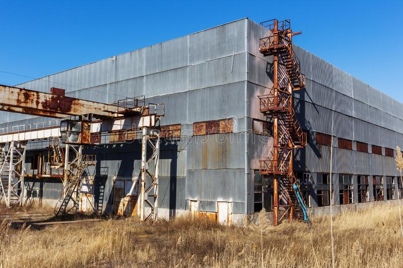 Corps of an old abandoned industrial plant. Abandoned construction of a nuclear power plant in Odessa, Teplodar. Industrial royalty free stock photo