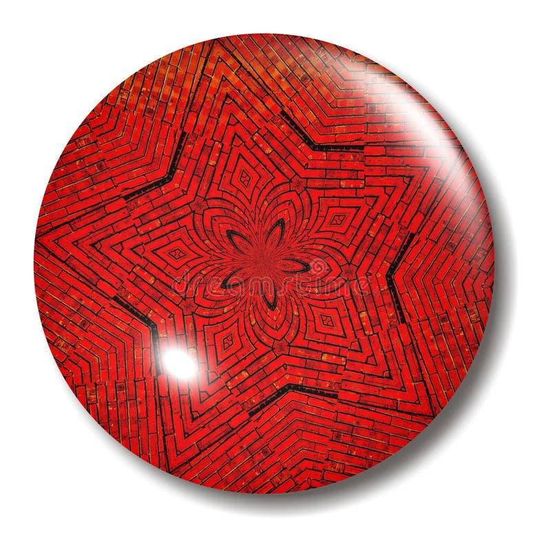 Corps rond de bouton d'étoile de brique rouge illustration libre de droits