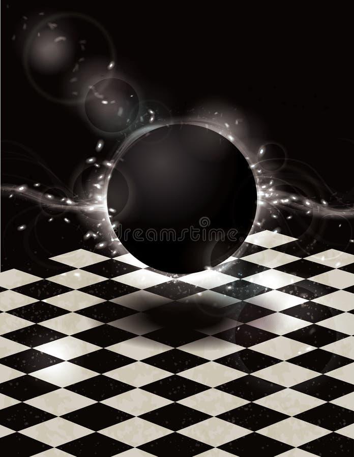 Corps rond noir rougeoyant sur le fond checkered illustration stock