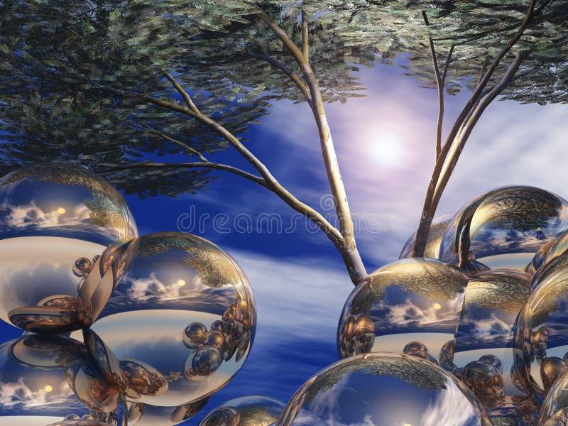 Corps ronds et arbre argentés illustration stock