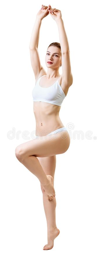 Corps sportif de jeune femme musculaire intégral photo stock
