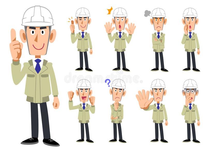 Corps supérieur d'un homme portant un casque et travailler des vêtements 9 ensembles d'expressions du visage et de gestes 2 illustration de vecteur