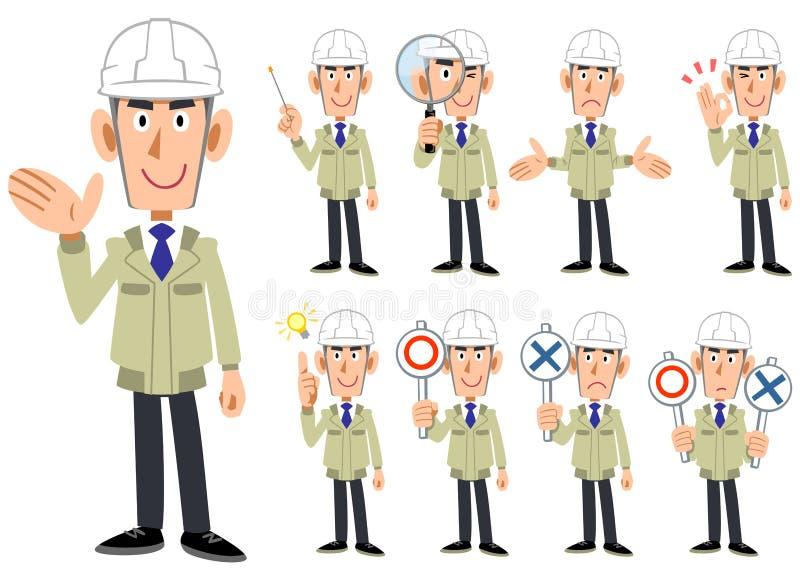 Corps supérieur d'un homme portant un casque et travailler des vêtements 9 ensembles d'expressions du visage et de gestes 1 illustration de vecteur